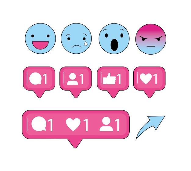 Emojis sociales y mensaje de burbujas de chat.