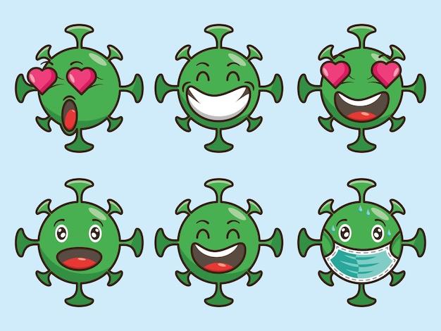 Emojis de virus lindo con ojos, boca y personaje sonriente, expresión facial, conjunto de ilustraciones vectoriales