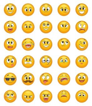 Emoticon ambientado con diferentes emociones graciosas. conjunto de caracteres vector