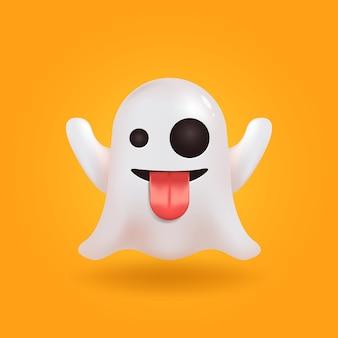 Emoticon de chat de redes sociales fantasma. emoji lindo. render realista. elemento de espíritu de halloween.
