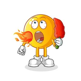 Emoticon comer ilustración de mascota de chilie caliente