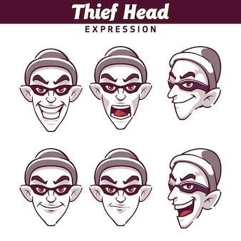 Emoticon de conjunto de expresión de cabeza de ladrón