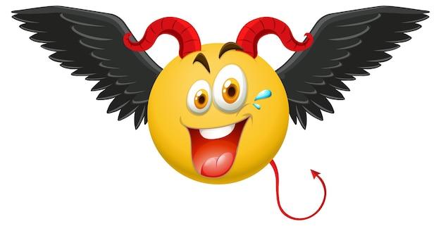 Emoticon de diablo con expresión facial.
