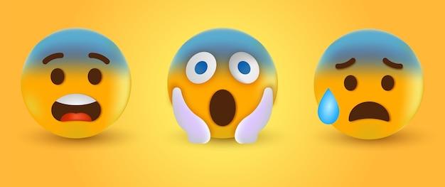 Emoticon emoji gritando con dos manos sosteniendo la cara o emoji sorprendido y emoción triste