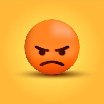 Emoticon enojado gruñón o emoji rojo loco para red social
