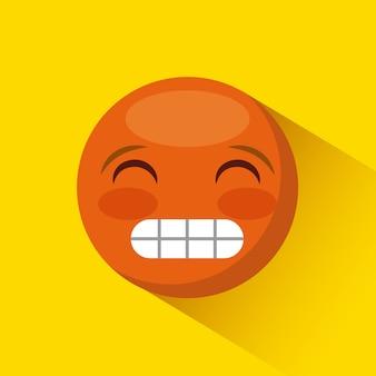 Emoticon hacer muecas icono de la cara sobre fondo amarillo. diseño colorido. ilustración vectorial