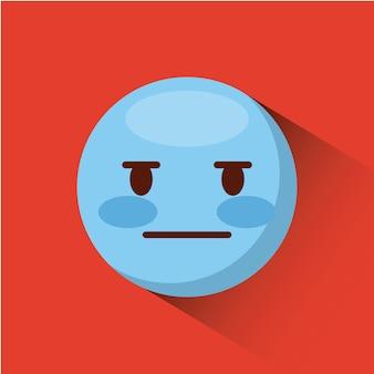 Emoticon con el icono de la cara inexpresiva sobre fondo rojo. diseño colorido. ilustración vectorial Vector Premium