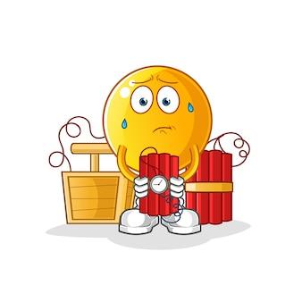 Emoticon con ilustración de personaje de dinamita