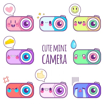Emoticon lindo pegatina de cámara