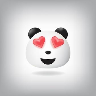 Emoticon de panda de ojos amorosos