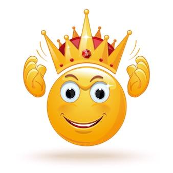 El emoticon de rey lleva una corona