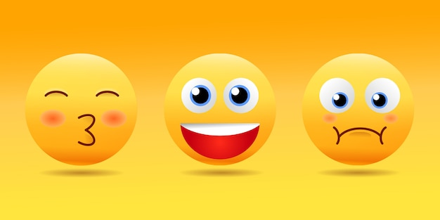 Emoticones de cara sonriente con un conjunto de diferentes expresiones faciales en 3d realista brillante