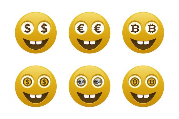 Emoticones sonrientes con monedas