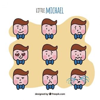 Emoticonos de chico lindo en diseño plano