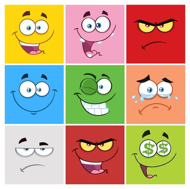 Emoticonos cuadrados de dibujos animados con conjunto de expresiones