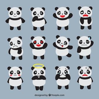 Emoticonos fantásticos de panda