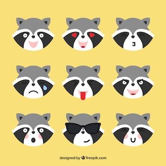 Emoticonos de mapache con diferentes expresiones faciales