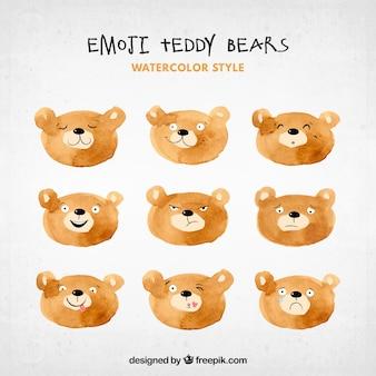 Emoticonos de osos de acuarela