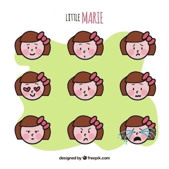 Emoticonos planos de niña linda