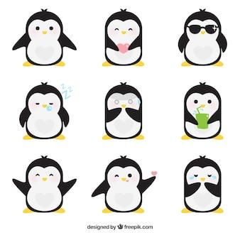 Emoticonos planos de pingüino fantástico
