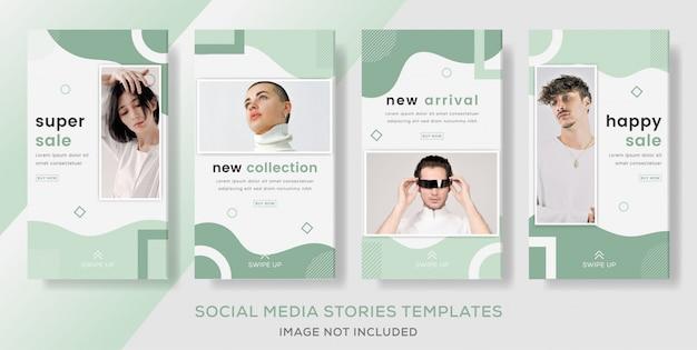 Empaque historias de pancartas para la venta de moda. color verde