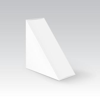 Empaquetado de la caja para llevar del triángulo en blanco blanco de la cartulina para el bocadillo