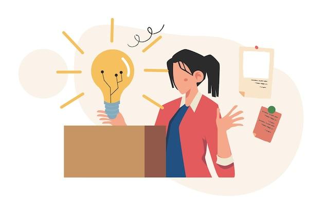 Empaquetar ideas en forma de bombillas, negocios para el trabajo en equipo, búsqueda de nuevas soluciones, lluvia de ideas
