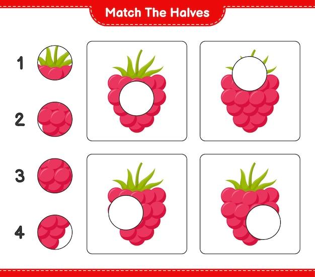 Empareja las mitades. coinciden con las mitades de frambuesas. juego educativo para niños, hoja de trabajo imprimible