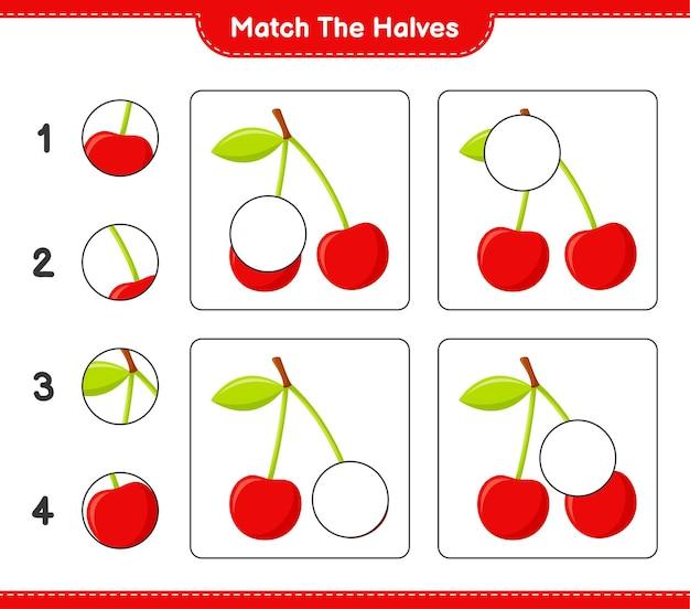 Empareja las mitades. coincidir con las mitades de cereza. juego educativo para niños, hoja de trabajo imprimible