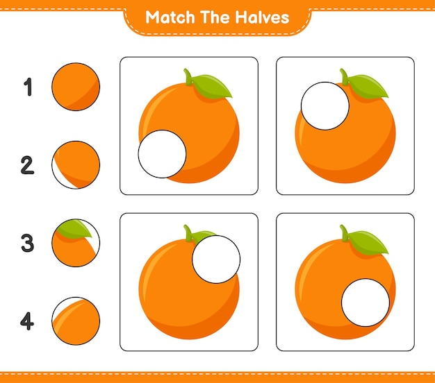 Empareja las mitades. coincidir con las mitades de naranja. juego educativo para niños, hoja de trabajo imprimible