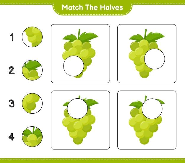 Empareja las mitades. coincidir con mitades de uva. juego educativo para niños, hoja de trabajo imprimible