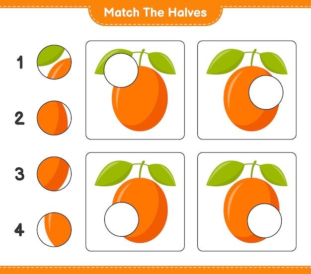 Empareja las mitades. coincidir con las mitades de ximenia. juego educativo para niños, hoja de trabajo imprimible