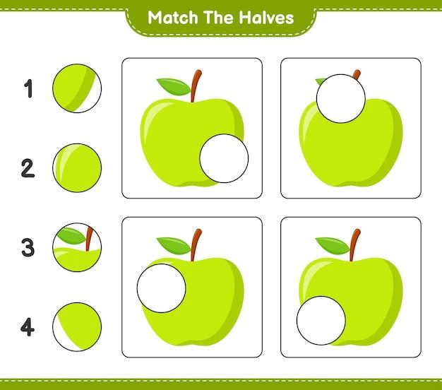 Empareja las mitades. combina mitades de manzana. juego educativo para niños, hoja de trabajo imprimible