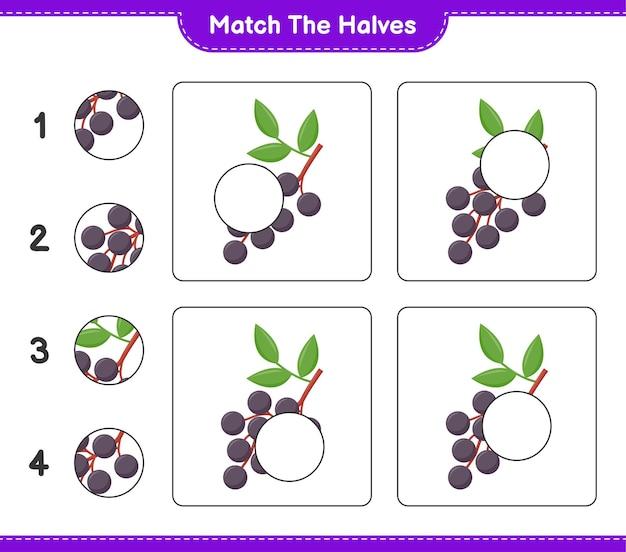 Empareja las mitades. combina mitades de saúco. juego educativo para niños, hoja de trabajo imprimible