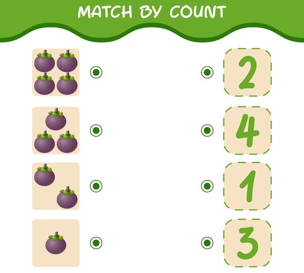 Emparejar por conteo de mangostanes de dibujos animados juego de emparejar y contar juego educativo para niños y niños pequeños antes de la escuela