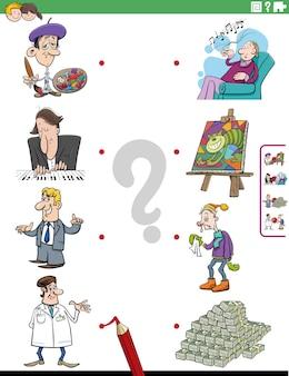 Emparejar personas personajes y objetos tarea educativa