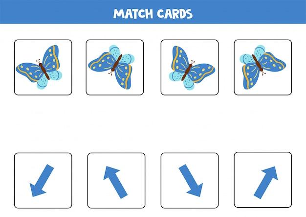 Emparejar tarjetas con orientación espacial y mariposa azul.