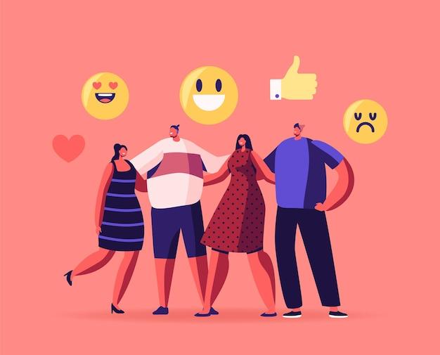Empatía, abrazos con amigos ilustración
