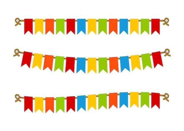 Empavesados brillantes multicolores banderas guirnaldas.