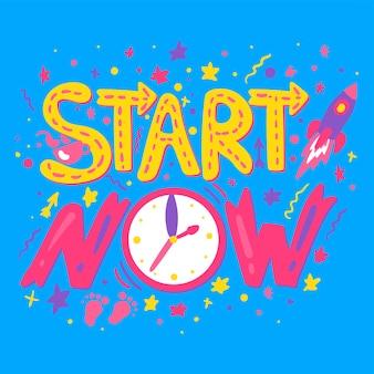 Empiece ahora letras vectoriales dibujadas a mano. cita motivacional. cartel de gestión del tiempo, plantilla de banner