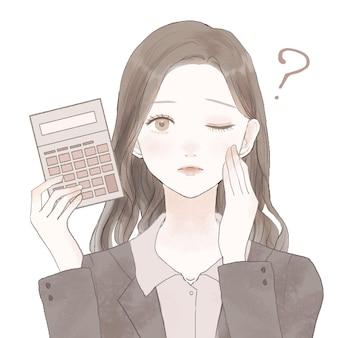 Empleada con calculadora, cuestionando. sobre un fondo blanco. diseño simple y lindo.