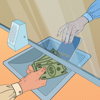 Empleado de arte pop dando dinero en efectivo al cliente. concepto de cambio de moneda. retiro bancario, operación financiera.