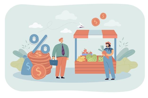 Empleado de banco dando préstamo al dueño de la tienda