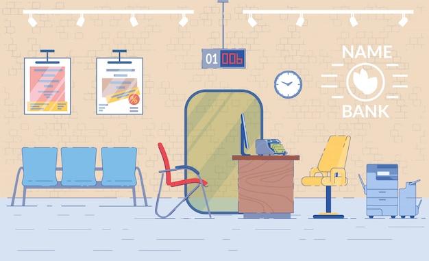Empleado del banco interior del lugar de trabajo con escritorio para el cliente