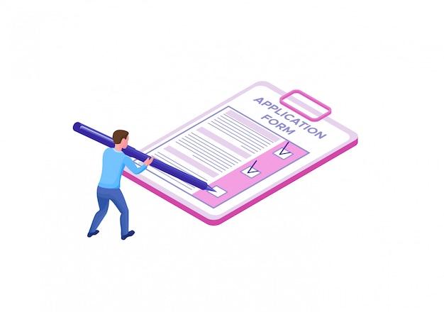 Empleado cumplimentando formulario de solicitud