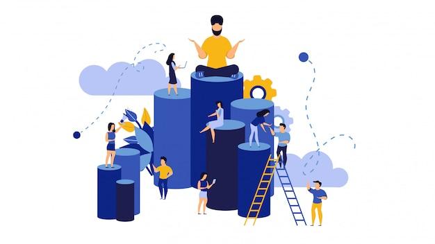 Empleado empoderar valentía edificio ilustración del concepto de negocio.