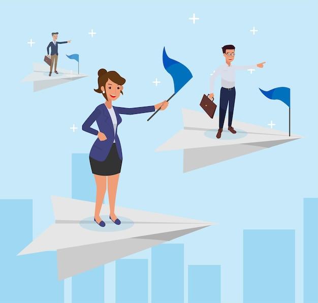 Empleado de hombre y mujer de pie en el avión de papel, vista de rascacielos. ambiciones comerciales, éxito empresarial, liderazgo.