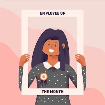 Empleado del mes concepto con marco de explotación de mujer