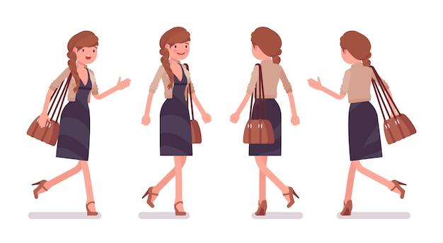 Empleado de oficina bastante femenino caminando, corriendo