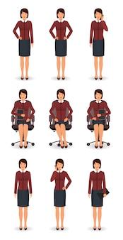 Empleado de oficina en diferentes poses. mujer de negocios de pie y sentado en la silla.